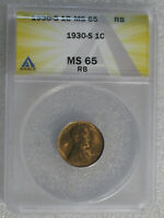 1930-S LINCOLN CENT ANACS MINT STATE 65 RB     KS645