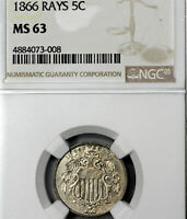 1866 MINT STATE 63 WITH RAYS SHIELD NICKEL 5C, NGC GRADED, STRONG DIE CRACKS & DOUBLING