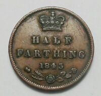 GREAT BRITAIN 1843 1/2 FARTHING VF     HIGH GRADE  TYPE VICTORIA UK COIN