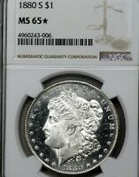 1880-S MINT STATE 65 STAR MORGAN SILVER DOLLAR $1, NGC GRADED