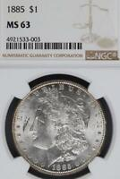 1885 MORGAN SILVER DOLLAR NGC MINT STATE 63 DOUBLEJCOINS  3006-46