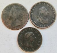 GREAT BRITAIN 3 DIFFERENT FARTHING 1/4D 1749 1799 1806 GEORG
