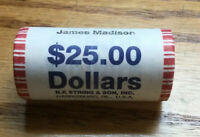 2007 JAMES MADISON PRESIDENT $1 UNCIRCULATED N.F. STRING ROLL OF 25