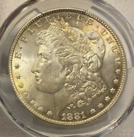 1881 MINT STATE 63 MORGAN SILVER DOLLAR PCGS GRADED MS CERTIFIED  LUSTER