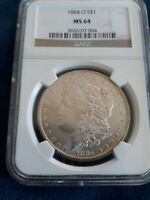 1884-O MORGAN SILVER DOLLAR NGC - MINT STATE 64 HUNDREDS OF UNDERGRADED COINS UP NO RES