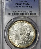 1889 P MINT STATE 63 VAM-22 BAR WING MORGAN SILVER DOLLAR $1, PCGS GRADED