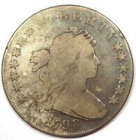 1798 DRAPED BUST SILVER DOLLAR $1 -  GOOD DETAILS VG -  TYPE COIN