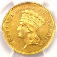 1866 THREE DOLLAR INDIAN GOLD COIN $3   PCGS UNCIRCULATED DETAILS  UNC MS