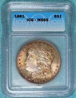 1881-P MINT STATE 65 MORGAN SILVER DOLLAR UNCIRCULATED UNC LOT 5