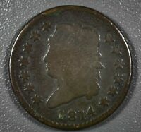1814 1C LARGE CENT CLASSIC HEAD  GOOD KEY DATE