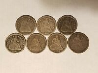 7 SEATED DIMES 1841 O 1845 1856 SD 1857 1862 1877 1889 VG TO VF