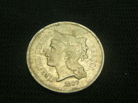 1867 THREE CENT NICKEL US TYPE COIN ABOUT UNCIRCULATED / AU POST CIVIL WAR ERA