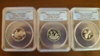 3 PIECE 2009 S SILVER PROOF SET ANACS PR 70 DCAM 25C.  LOW S