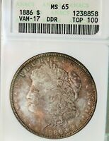 1886 MORGAN SILVER DOLLARANACS MINT STATE 65VAM-17, TOP 100, DOUBLED ARROWS