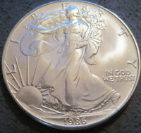 AS SHOWN - 1986 1 OZ AMERICAN SILVER EAGLE UNCIRCULATED // MC 516