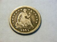 1844-P VG/F SILVER SEATED LIBERTY HALF DIME,   LOW MINTAGE 430 K COIN
