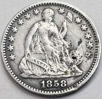 1858 SEATED LIBERTY SILVER HALF DIME LOT WITH LAMINATION ERROR HD-3