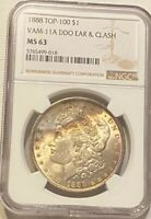 1888 VAM 11 MORGAN MINT STATE 63 NGC MINT STATE 63 GRADED DDO EAR & CLASH  TONING