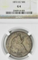1872 CC NGC G 4 G4 SEATED SITTING LIBERTY FIFTY CENT SILVER