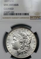 1897-S UNC DETAILS CLEANED MORGAN SILVER DOLLAR $1, NGC GRADED,  COIN