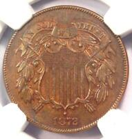 1872 TWO CENT COIN 2C - CERTIFIED NGC UNCIRCULATED DETAILS UNC MS - KEY DATE