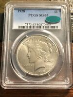 1928 P $1 PEACE SILVER DOLLAR PCGS MS 63 CAC KEY DATE; $.01