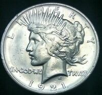 WELL STRUCK 1921 PEACE SILVER DOLLAR AU DETAILS  POLISHED