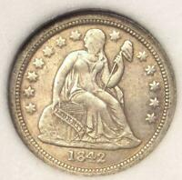 1842-O SEATED LIBERTY DIME 10C -  AU DETAILS -  DATE