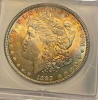 1889 P MORGAN SILVER DOLLAR ICG MINT STATE 64 GRADED CERTIFIED SUNSET TONING