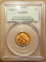 1947 S LINCOLN WHEAT CENT PCGS MS66 RD RED UNC PENNY 1C OGH OLD GREEN HOLDER