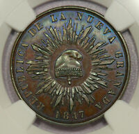 COLOMBIA DECIMO REAL 1847 BRONZED PROOF PATTERN NGC PF63