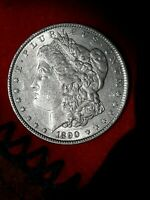 1890 MORGAN SILVER DOLLAR: AU DETAILS SCRATCH/DIPPED  COIN