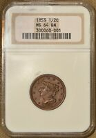 1853 1/2C BRAIDED HAIR HALF CENT NGC MINT STATE 64BN