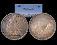 1841 $1 PCGS AU53 LIBERTY SEATED DOLLAR TOUGH TO FIND