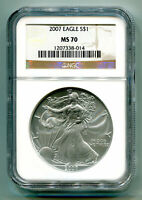 2007 AMERICAN SILVER EAGLE NGC MS70 BROWN MS 70 PRISTINE COIN AND SLAB PQ