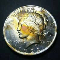 1922 - TONED PEACE SILVER DOLLAR LOTS OF LUSTER GOLDEN CHEEKS RAINBOW