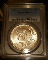 1923-P $1 PEACE SILVER DOLLAR PCGS MINT STATE 62 - GREAT LOOKING BU COIN