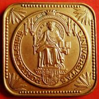 EDUCATION SCHOOL UNIVERSITY SEATED WOMAN ALLEGORY BOOK BRONZE PLAQUE MEDAL