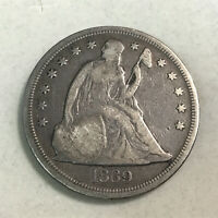 1869 $1 SEATED LIBERTY SILVER DOLLAR F DETAILS   LIGHT SCRAT