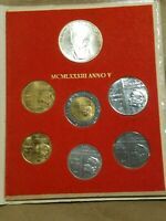 1983 VATICAN CITY SEVEN COIN MINT SET WITH 1 000 LIRE SILVER COIN UNC IN FOLDER