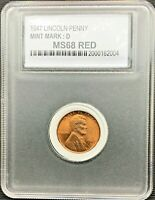 1947-D LINCOLN WHEAT CENT, BRILLIANT UNCIRCULATED, IN A PROTECTIVE HOLDER
