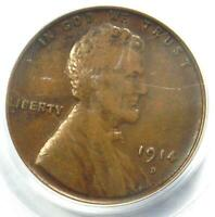1914-D LINCOLN WHEAT CENT 1C - PCGS VF35  FINE -  KEY DATE PENNY