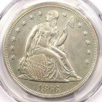 1866 PCGS LIBERTY SEATED DOLLAR W/ MOTTO SILVER COIN UNC DET