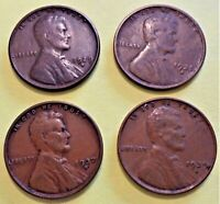 4 SAN FRANCISCO LINCOLN WHEAT CENTS  1929-S, 1935-S, 1937-S, 1939-S  CIRCULATED