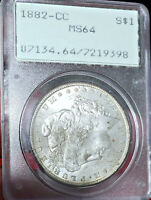 RATTLER 1882-CC MINT STATE 64 MORGAN DOLLAR PCGS AWESOME