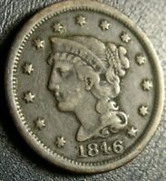 1846 SMALL DATE BRAIDED HAIR LARGE CENT COIN OLD US COPPER 1C PENNY COLLECTION