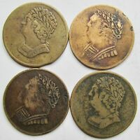 CANADA GROUP OF 4 BUST AND HARP CANADIAN IMITATIONS TOKENS C 1820 1835