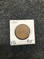 US TWO CENT PIECE COIN 1865 1