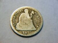 1875-S G/AG SILVER SEATED LIBERTY DIME,  LOW PRICED COIN CAN USE AS A FILLER