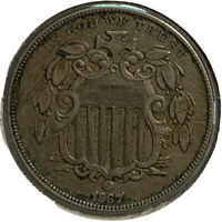 1867 SHIELD NICKEL 5 CENT US COIN SI69